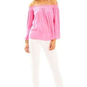 Lilly Pulitzer Nita Off the Shoulder Top Pink XL